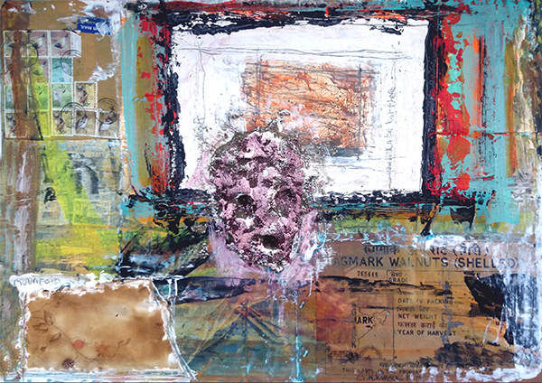 """Kingerlee and Robinson, collaboration work """"Untitled"""" , 24″x12″, mixed media on paper"""