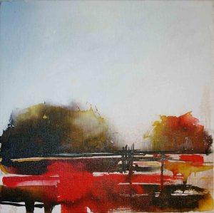 "Mary Tritschler ""Kerry landscape 1"" - Ink mixed media - 40x40cm"