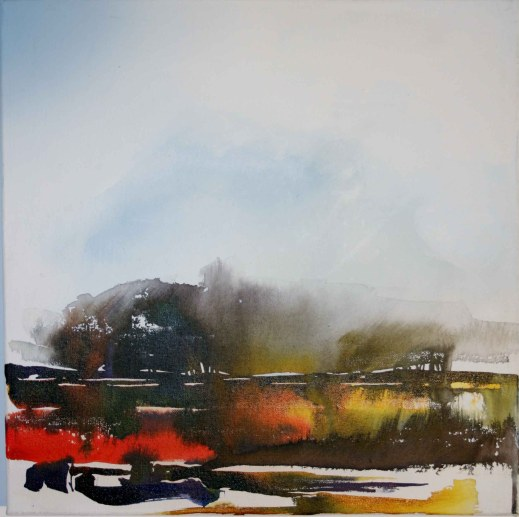 "Mary Tritschler ""Kerry landscape 2"" - Ink mixed media - 40x40cm"