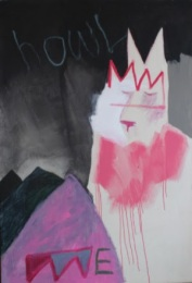 'The Howling (Hund) I will not survive but we will.' Acrylic and watercolour pencil on canvas, 115cm x 170cm