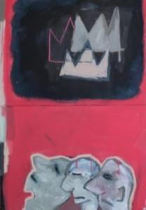 """Three hipsters"" Diptich Acrylic, chalk and oil bar on canvas, 130cm x 90cm"