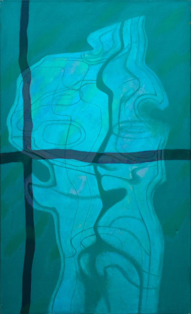 """Campbell Bruce """"Swimming Pool Reflection Series: Reflection in Blue"""" Oil on canvas, cm 128×78, 1966"""