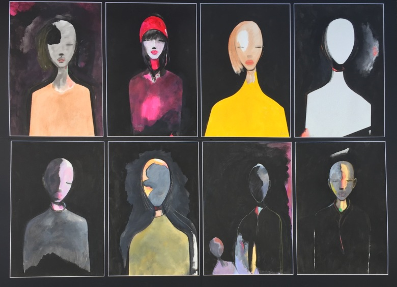 "Eddie Cahill ""Heads VII"" Mixed media on paper"