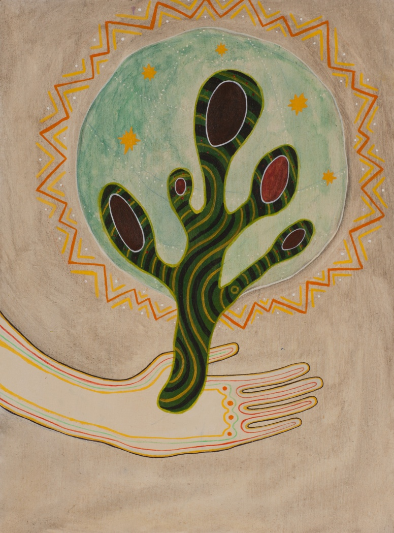 "Ronan O'Reilly, ""World-Tree"", 30 x 22 cm, Acrylic on wood"