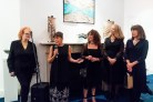 Dr. Noelle Campbell Sharp with artists Nicola Henley, Kathryna Cuschieri, Vivienne Bogan and Jane Seymour