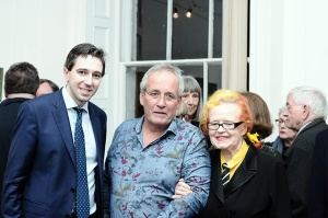 Minister Simon Harris with artist Patrick Walshe and Origin director Dr Noelle Campbell-Sharp at Origin Gallery.
