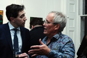 Minister Simon Harris and artist Patrick Walshe who presented a suite of 15 paintings to the Marie Keating Foundation at Origin Gallery for sale in one lot to aid cancer survivors