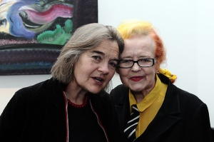 Nicola Gordon Bowe and Noelle...at the Origin exhibition of Patrick Walshes recent paintings and presentation of suite of 15 paintings to the Marie Keating Foundation for sake in aid of cancer survivors.