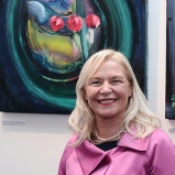 Linda Keating at Patrick Walshe exhibition...and presentation to Marie Keating Foundation by artist of suite of 15 paintings for sake in one lot in aid of cancer survivors.