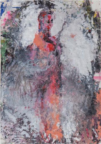 Katarzyna Gajewska, 'Catwalk/Leda', Mixed media on paper 100 x 70 cm cm