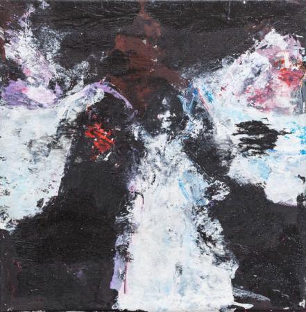 Katarzyna Gajewska,'Night Winds/ Serpentine Dancer Loie Fuller' Mixed media on canvas 30 x 30cm