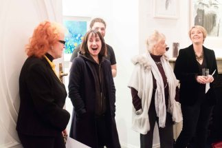 L-R: Dr Noelle Campbell Sharp, artists Leah Hewson, Jacqueline Stanley, Kathrine Geoghegan. In the back: artist Ronan O'Reilly