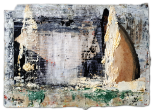Collaborative work. Hiding Place', 12 x 8, Gesso, ink, net curtain, collage, oil on paper