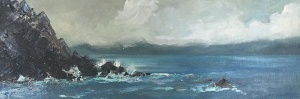 Sarah Langham 'Rocks at Ballinskelligs', Oil on Canvas, 60 x 18cm